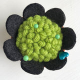Handcrafted Wool Pincushion: Green with Charcoal