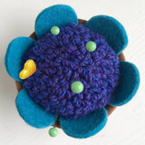 Handcrafted Wool Pincushion: Periwinkle with Turquoise