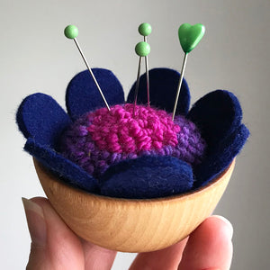 Handcrafted Wool Pincushion: Magenta Purple with Deep Blue