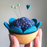 Handcrafted Wool Pincushion: Multi Blues with Turquoise