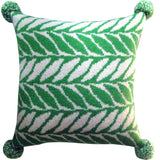 Wool Fair Isle Pillow with Pompoms: Palm Fronds