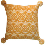 Wool Fair Isle Pillow with Pompoms: Golden Pineapple