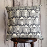 Wool Fair Isle Pillow: Grey Bees
