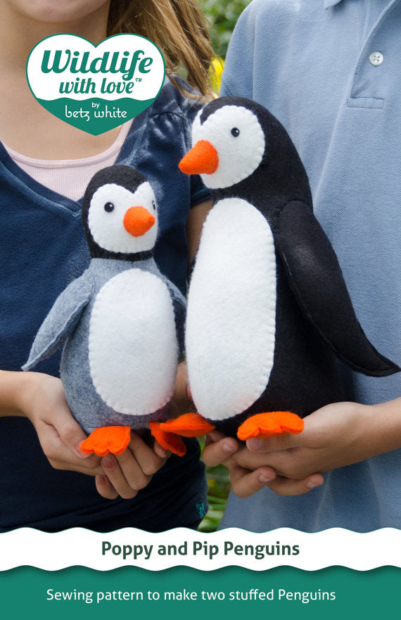 Poppy and Pip stuffed felt penguin PDF pattern