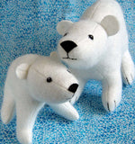 Flurry and Fluff stuffed felt polar bears PDF pattern