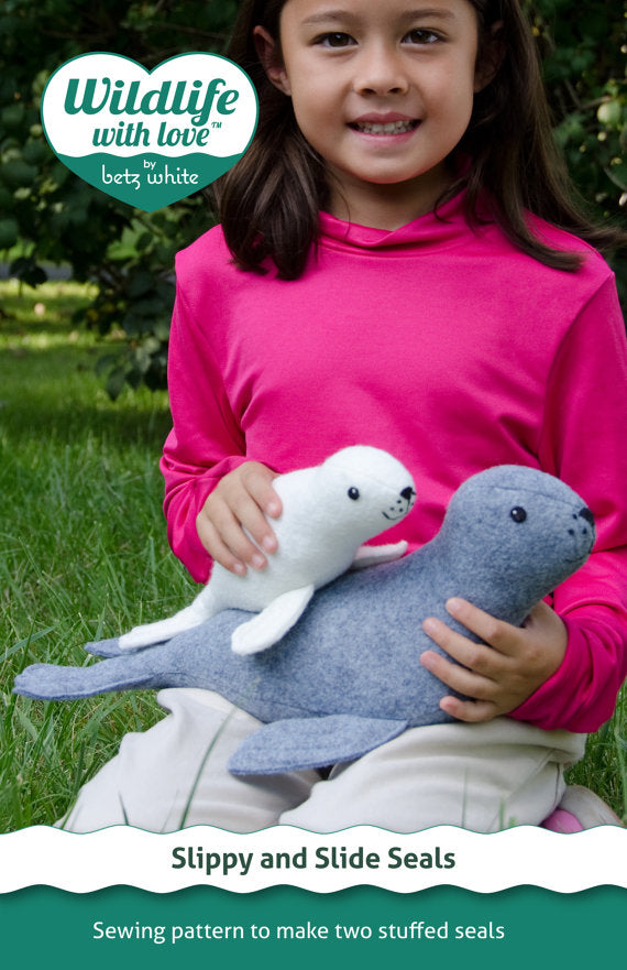 Slippy and Slide stuffed felt seals PDF pattern