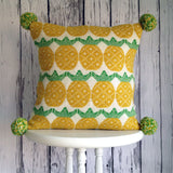 Wool Fair Isle Pillow with Pompoms: Pineapple