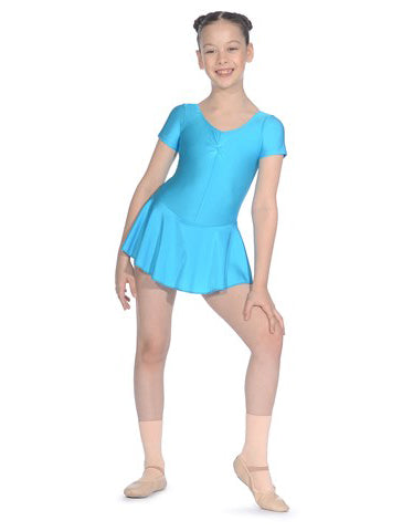 Short Sleeved Nylon Lycra Skirted Leotard