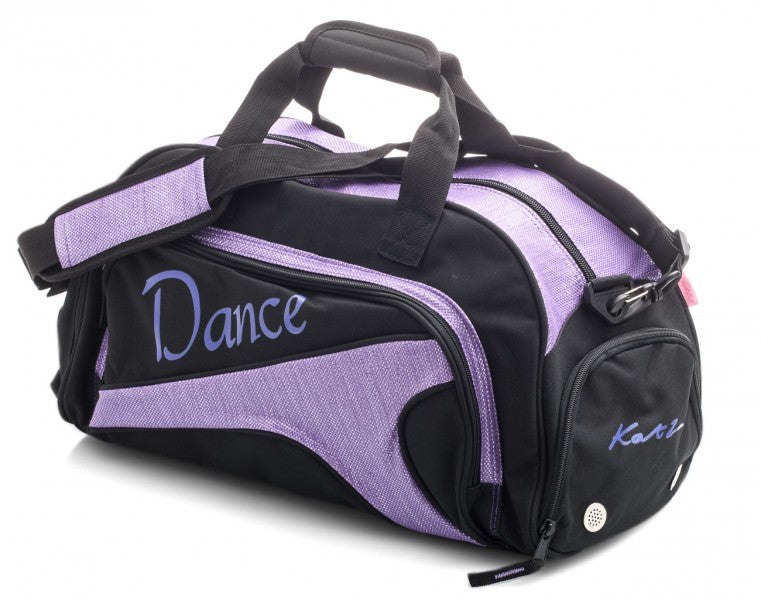MEDIUM BLACK & SPARKLY PURPLE DANCE BALLET KIT HOLDALL SPORTS BAG