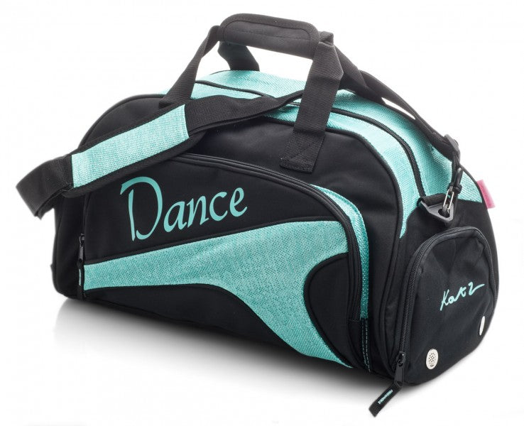 MEDIUM BLACK & SPARKLY TURQUOISE DANCE BALLET KIT HOLDALL SPORTS BAG