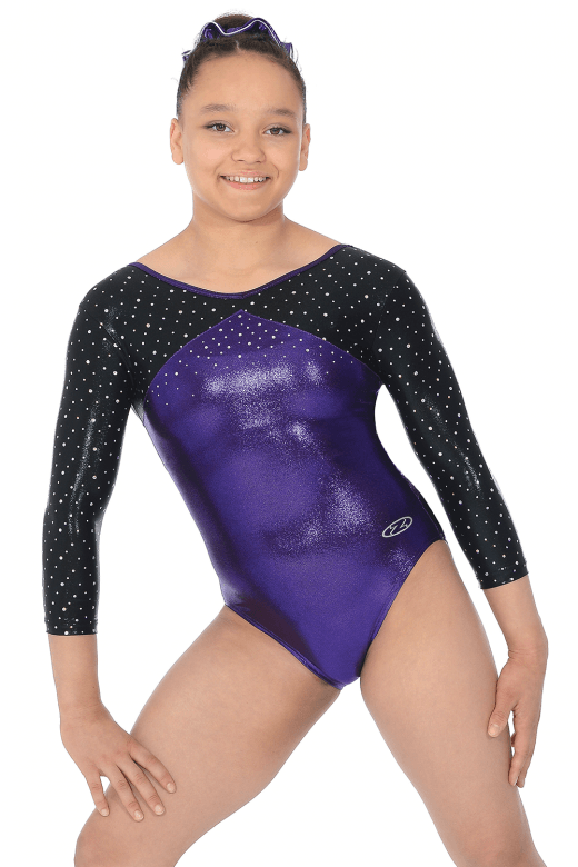 """BELLE"" Shiny 3/4 Sleeve Leotard"