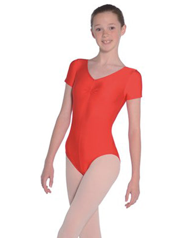 Short Sleeved Nylon Lycra Leotard with Ruch