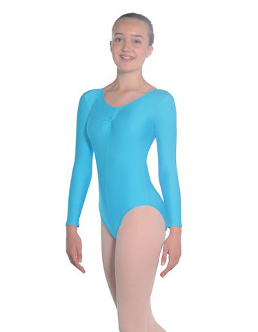 Long Sleeved Nylon Lycra Leotard with Ruch