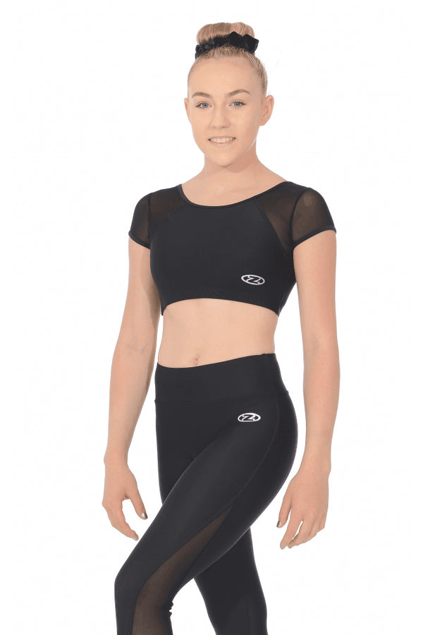 Matt Lycra Gymnastics Crop Top with Mesh Panels