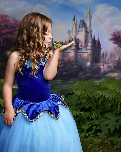 Spring photo backdrop dreamy castle background-cheap vinyl backdrop fabric background photography
