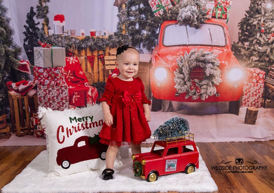 Christmas photography backdrops with red car