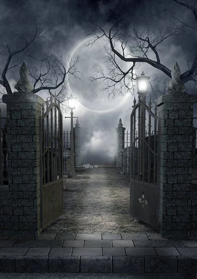 Iron gate in night for Halloween photography backdrops