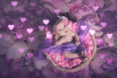 Pink flowers for backdrop newborn background