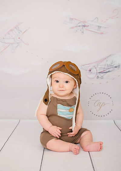 Retro gray backdrop airplane pattern for child-cheap vinyl backdrop fabric background photography