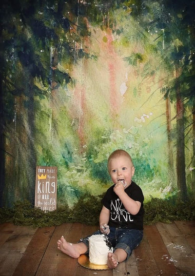 Oil painting forest backdrop for child photography-cheap vinyl backdrop fabric background photography