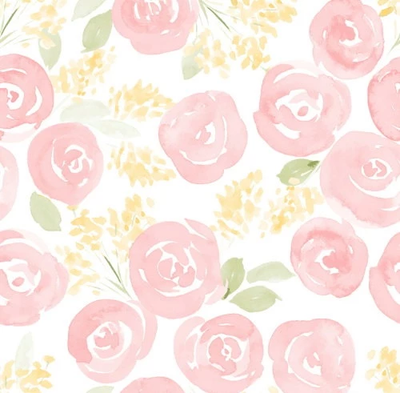 Hand drawn watercolor roses and cute little flowers pattern backdrop