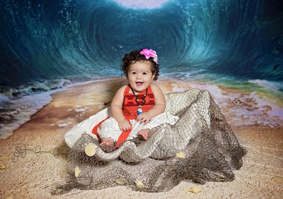 Summer sea backdrop with ocean waves-cheap vinyl backdrop fabric background photography