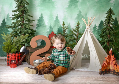 Winter watercolor forest pine photography backdrop