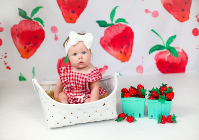 Summer backdrop watercolor strawberry pattern background-cheap vinyl backdrop fabric background photography