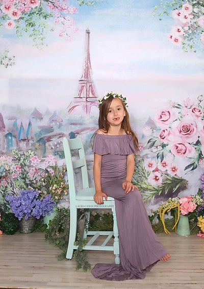 Oil painting flower backdrop with Eiffel tower