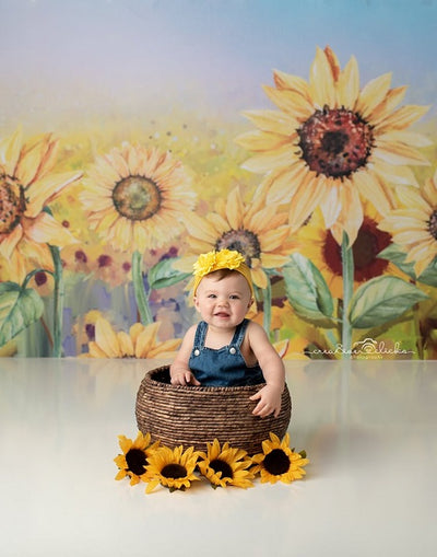 Summer backdrop oil painting sunflower background-cheap vinyl backdrop fabric background photography