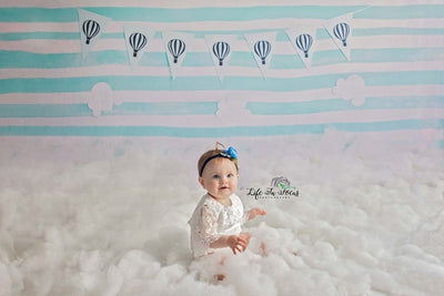 Cake smash backdrop hot air balloon and clouds background-cheap vinyl backdrop fabric background photography