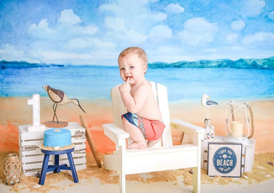 Oil painting backdrop summer beach background-cheap vinyl backdrop fabric background photography