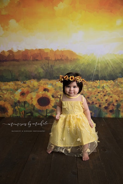 Oil painting floral backdrop sunflower background summer-cheap vinyl backdrop fabric background photography