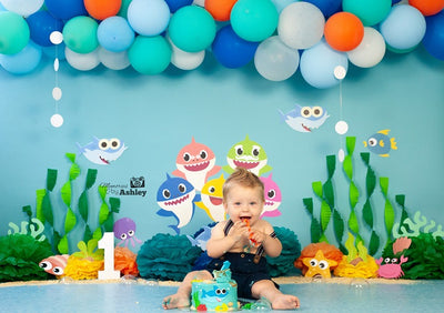 Baby shark backdrop summer background cake smash-cheap vinyl backdrop fabric background photography