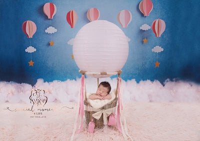 Hot air balloon background cake smash backdrop-cheap vinyl backdrop fabric background photography