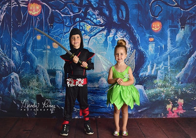 Halloween night backdrop dreamy forest background-cheap vinyl backdrop fabric background photography