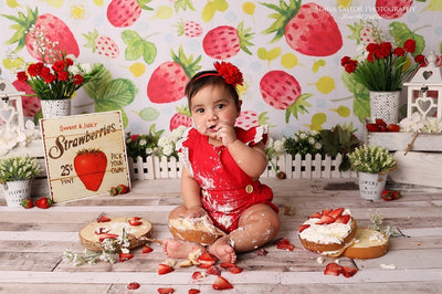Watercolor cake smash backdrops summer strawberry background-cheap vinyl backdrop fabric background photography