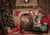 Christmas retro fireplace photography backdrop