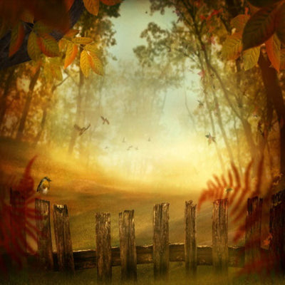 Autumn Fence Natural Forest Photography Backdrop-cheap vinyl backdrop fabric background photography