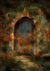 Vintage door backdrop oil painting background
