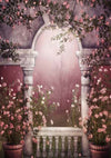 Vintage building backdrop pink flower background-cheap vinyl backdrop fabric background photography