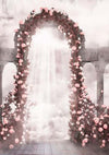 Vintage building backdrop flower background arches-cheap vinyl backdrop fabric background photography