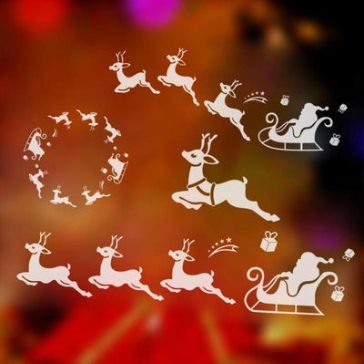 Chirstmas Decor Reindeer Sled Xmas for Kids Rooms Sticker Home Decor-cheap vinyl backdrop fabric background photography