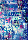 Valentine's Day blue love graffiti wall backdrop-cheap vinyl backdrop fabric background photography