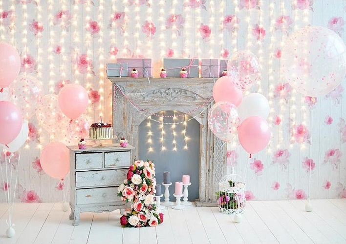 1st Birthday Background Pink Balloons Backdrops
