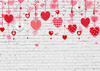 Valentine's day background white brick backdrop