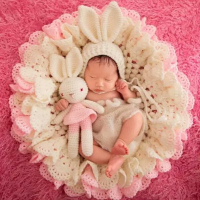 Newborn Photography Props Petal Blanket Three Sets (Hat + Blanket + Doll)-cheap vinyl backdrop fabric background photography