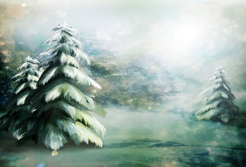 Painted Evergreen Tree Winter Snow Christmas Backdrop For