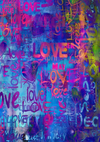 Colorful  love graffiti wall Valentine's Day Backdrop-cheap vinyl backdrop fabric background photography