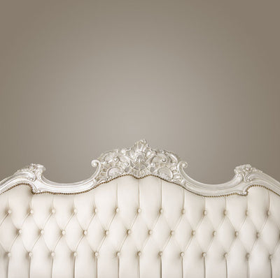 Upholstered creamy-white Tufted Backdrop - headboard bed